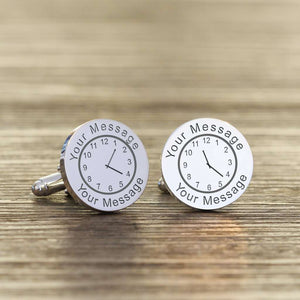 Personalised Any Message & Date Round Clock Cufflinks from Pukkagifts.uk