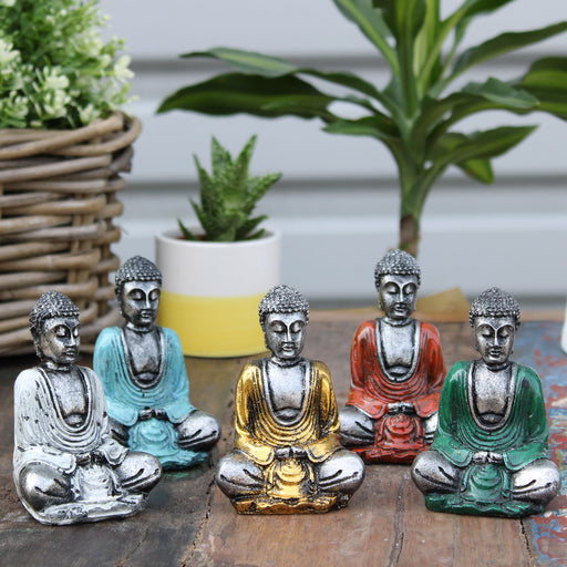 Set Of 6 Silver Mini Buddha Figures (Assorted Colours)