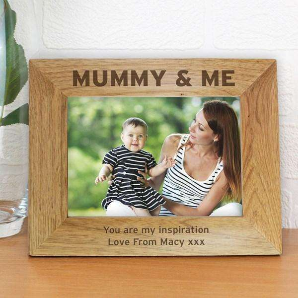 Personalised Mummy & Me 7x5 Wooden Photo Frame from Pukkagifts.uk