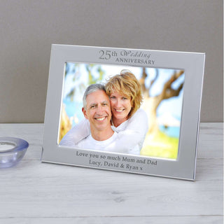 Personalised 25th Silver Wedding Anniversary Photo Frame from Pukkagifts.uk