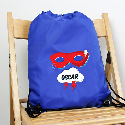 Personalised Superhero Blue Kit Drawstring Bag