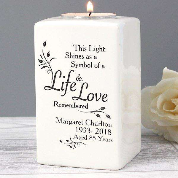 Personalised Loving Memory Ceramic Tea Light Candle Holder from Pukkagifts.uk