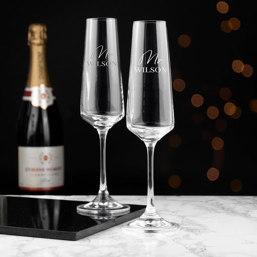 Personalised Couples Champagne Flute Glasses Set