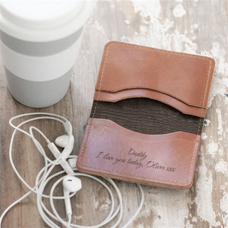 Personalised Tan Hide Leather Slim Card Wallet