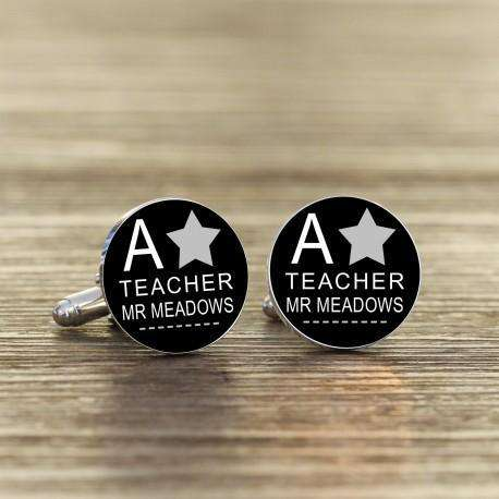 Personalised A Star Teacher Cufflinks from Pukkagifts.uk