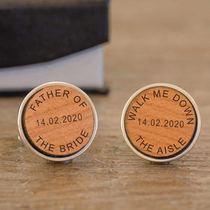 Personalised Walk Me Down The Aisle Wedding Wooden Cufflinks from Pukkagifts.uk