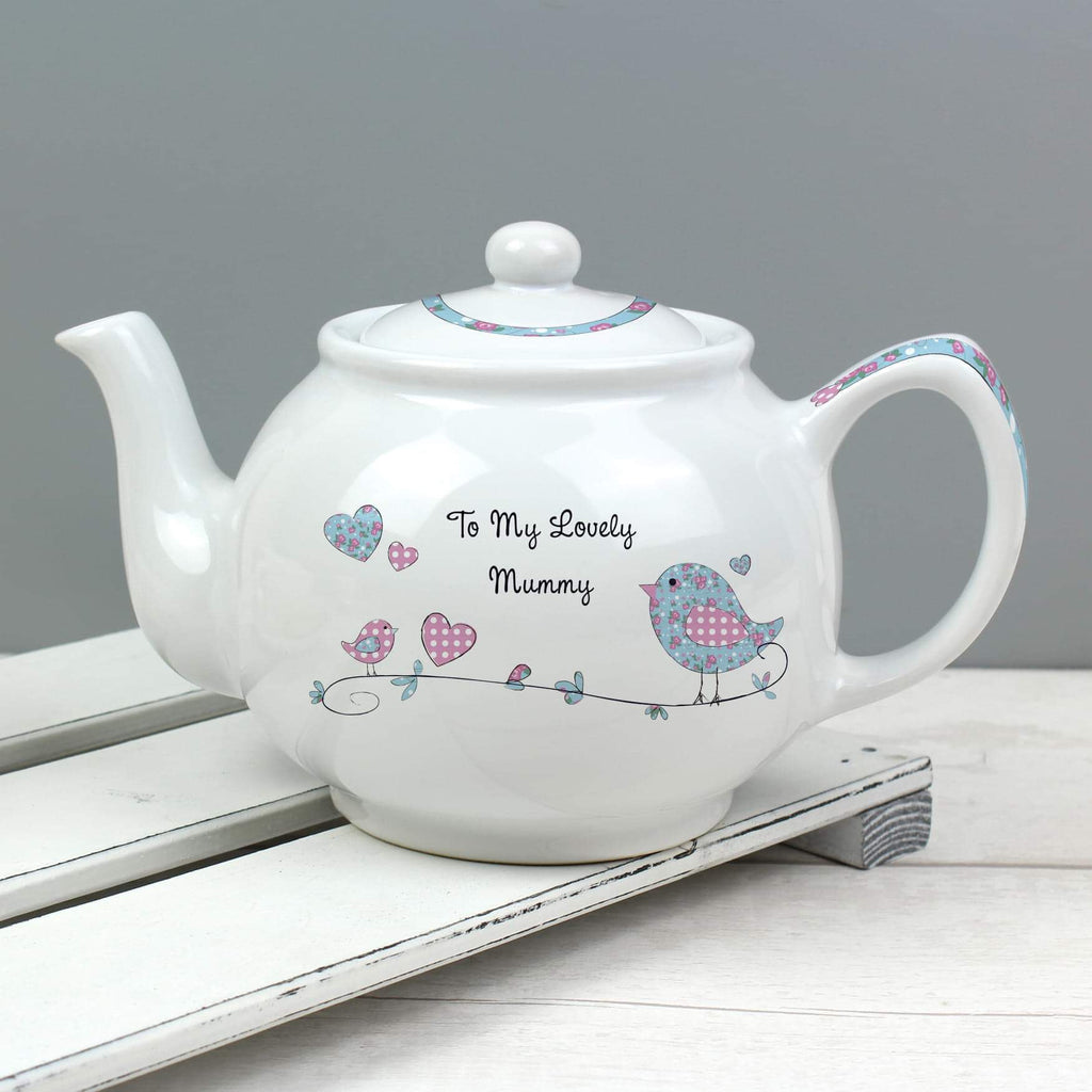 Personalised Floral Bird Teapot from Pukkagifts.uk