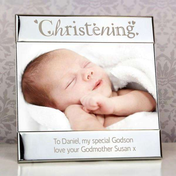 Personalised Silver Christening Square 6x4 Photo Frame from Pukkagifts.uk