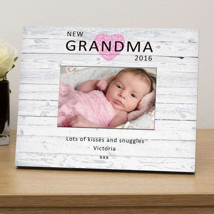 Personalised New Grandma Wood Photo Frame Available In Pink And Blue from Pukkagifts.uk