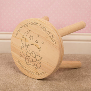 Personalised Children's Laser Engraved Baby Bear and Moon Wooden Stool