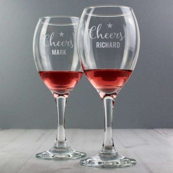 Personalised Cheers Wine Glass Set from Pukkagifts.uk