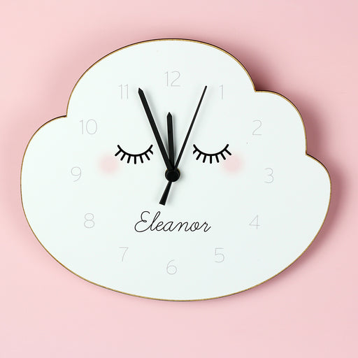 Personalised Eyelashes Cloud Shape Wooden Clock