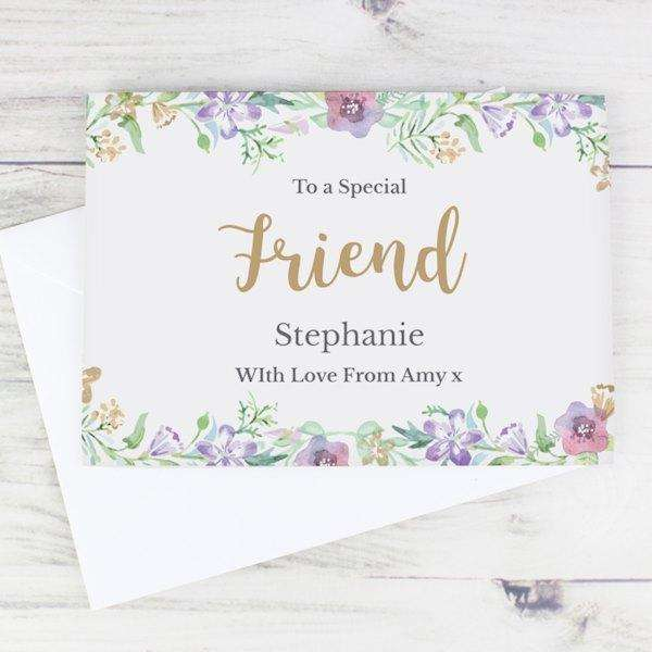 Personalised Gold Floral Watercolour Card from Pukkagifts.uk