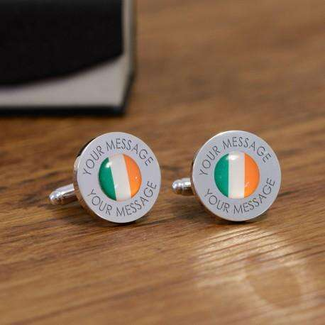 Personalised Irish Ireland Flag Cufflinks from Pukkagifts.uk