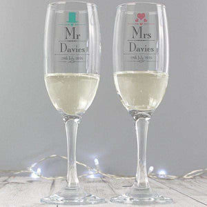 Personalised Decorative Wedding Mr & Mrs Pair of Flutes with Gift Box,Pukka Gifts