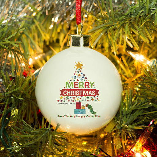 Personalised Very Hungry Caterpillar Merry Christmas Tree Bauble