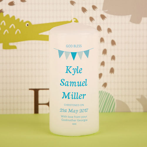 Personalised Boy Bunting Christening Candle