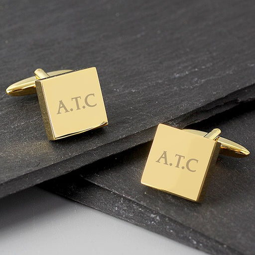 Personalised Gold Plated Square Cufflinks from Pukkagifts.uk