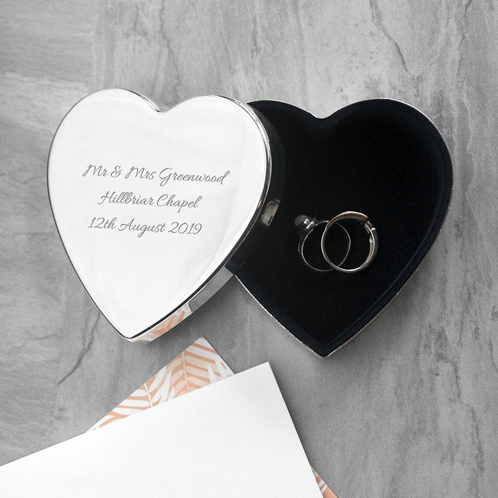 Personalised Classic Silver Heart Trinket Box