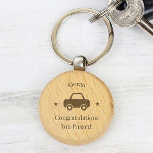 Personalised 'Car Motif' Wooden Round Keyring,Pukka Gifts