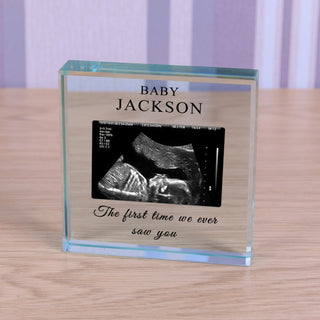 Personalised Baby Scan Glass Token Keepsake
