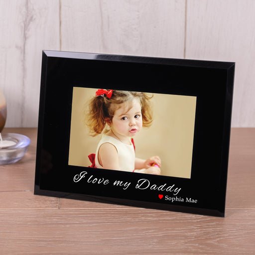 Personalised I love My Daddy Black Glass Photo Frame 6x4 from Pukkagifts.uk