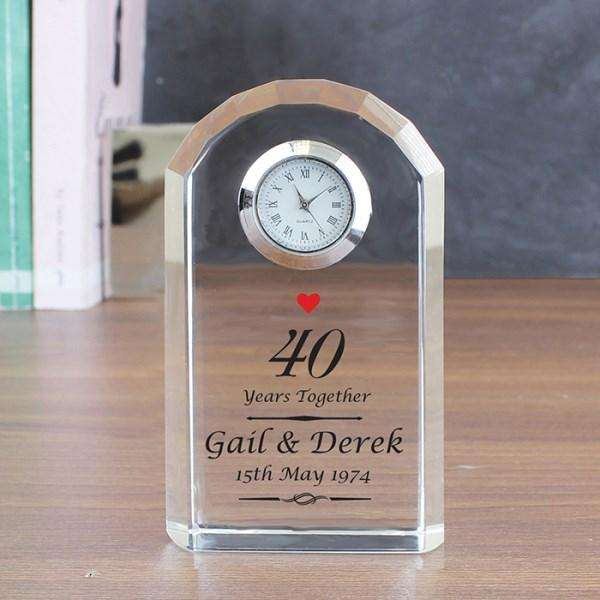 Personalised Ruby 40th Wedding Anniversary Crystal Clock from Pukkagifts.uk