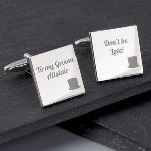 Personalised Top Hat Wedding Square Cufflinks from Pukkagifts.uk