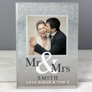 Personalised Mr & Mrs Glitter Glass Photo Frame 4x4 from Pukkagifts.uk