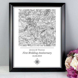 Personalised 1805 - 1874 Old Series Map Compass Black Framed Poster Print from Pukkagifts.uk
