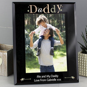 Personalised Daddy Black Glass Photo Frame 5x7 from Pukkagifts.uk