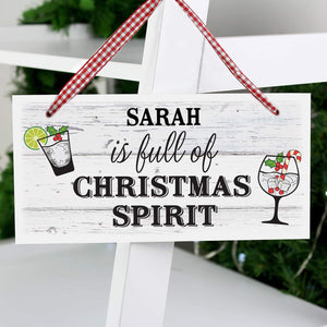 Personalised Christmas Alcohol Spirit Wooden Sign