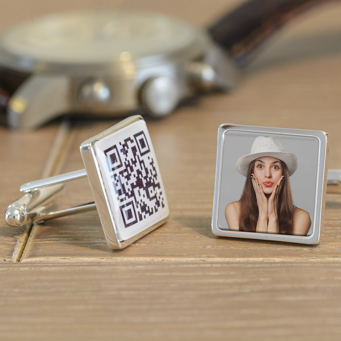 Secret Message QR & Photo Cufflinks