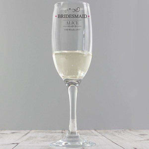 Personalised Bridesmaid Champagne Glass Flute from Pukkagifts.uk
