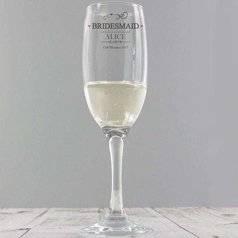Personalised Bridesmaid Champagne Glass Flute,Pukka Gifts