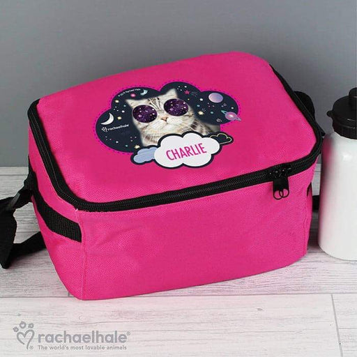 Personalised Rachael Hale Space Cat Pink Lunch Bag from Pukkagifts.uk