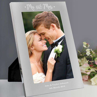 Personalised Mr & Mrs Silver Photo Frame 5x7 from Pukkagifts.uk