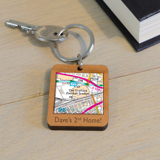 Football Stadium Map Wooden Keyring