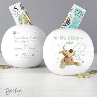 Personalised Boofle It's a Boy Money Box from Pukkagifts.uk