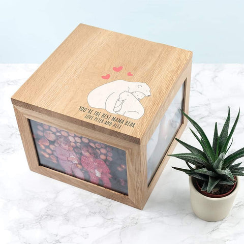 Personalised The Best Mama Bear Large Oak Photo Cube Keepsake Box from Pukkagifts.uk