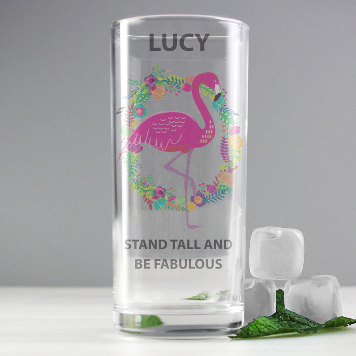 Personalised Flamingo Glass