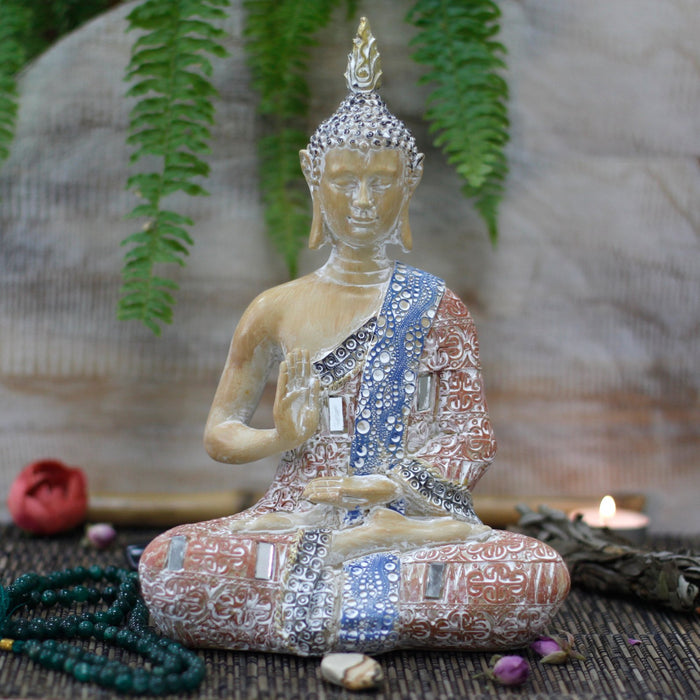 Thai Buddha Protection Ornament - Terracotta & Sky Blue 26 cm