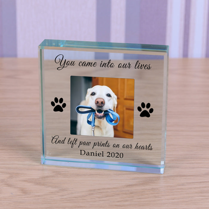 Personalised Dog Memorial Glass Token - Paw Prints On Our Hearts