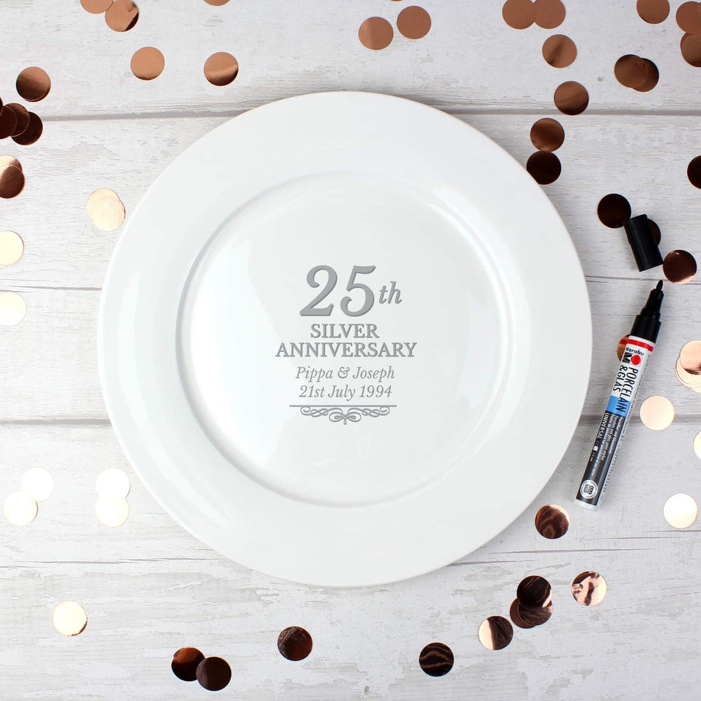 Personalised 25th Silver Anniversary Plate