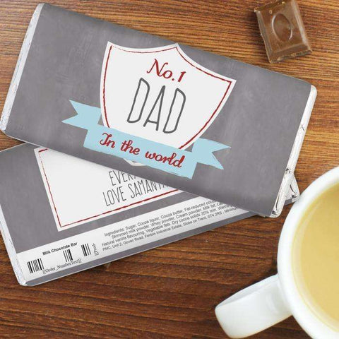 Personalised No.1 Shield Milk Chocolate Bar Free Delivery,Pukka Gifts