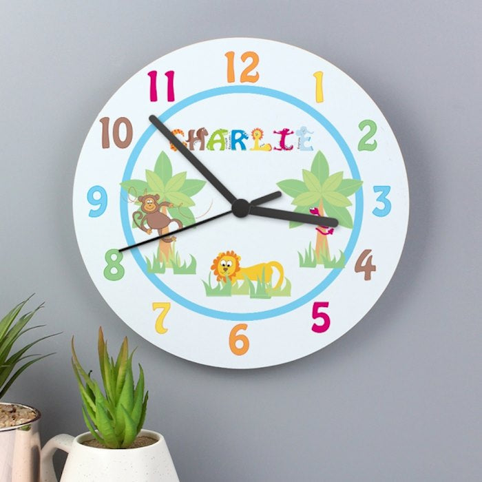 Personalised Animal Alphabet Boys Wooden Clock from Pukkagifts.uk