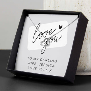 Personalised Love you Sentiment Silver Tone Necklace and Box