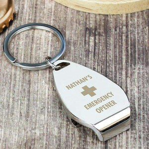 Personalised Emergency Bottle Opener Keyring,Pukka Gifts