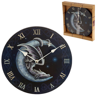 Sweet Dreams Dragon in Moon Wall Clock from Pukkagifts.uk