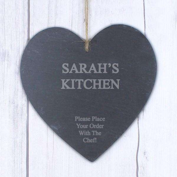 Personalised Large Engraved Slate Heart from Pukkagifts.uk